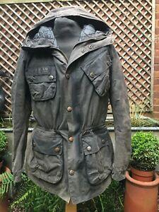 Barbour International FOG PARKA wax cotton hooded jacket coat men's large