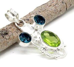 """925 Sterling Silver Green Peridot & Tourmaline Gemstone Jewelry Pendant Size-2"""""""