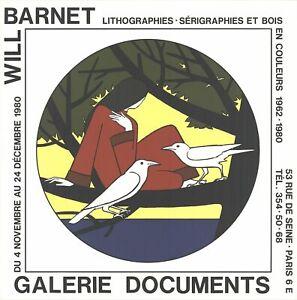 WILL BARNET Women, the Sea and Solitude 20 x 20 Lithograph 1980 Contemporary Bla