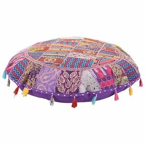 "Indian 32"" Patchwork Handmade Round Floor Cover Vintage Cotton Ottoman Stool Art"