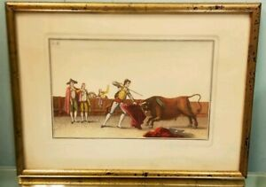 18C Antique Suerto de Matar Handcolored Engraving Antonio Carnicero Bull Fight