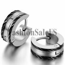 5mm Wide Men's Unique Style Stainless Steel Charm Hoop Huggie Earrings One Pair