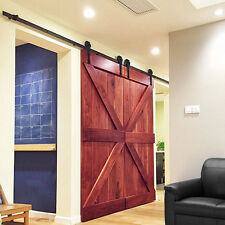 12Ft Black Antique Style Double Sliding Barn Wood Door Closet Hardware Set US
