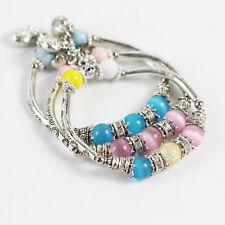 Exotic Charm Beaded Bracelet Stretch Girls Womens Alloy Tubes Ceramic Beads Gift