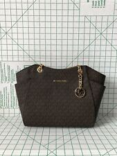 Michael Kors Jet Set Travel Large Signature Shoulder Bag Brown PVC Chain Tote