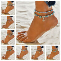 Turquoise Starfish Shell Conch Beads Anklet Bracelet Summer Beach Accessories