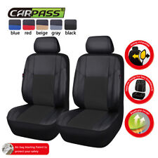 Universal Two Front Black Car Seat Covers PU Leather For Car Truck SUV HONDA BMW