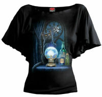 Ladies Spiral Direct Boat Neck/Bat/Short Sleeved The Witches Apprentice Cat Top