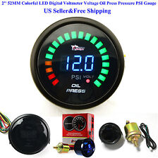 "US 2"" 52MM Colorful LED Digital Voltmeter Voltage Oil Press Pressure PSI Gauge"