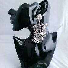 Huge Frosted feather CRYSTAL Earrings Oversized  Designer Runway Trend 2020