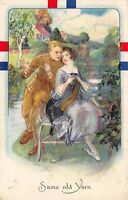 WWI Romance~Same Old Yarn~Solider & Lady on Bench~Sweater~Emboss~Sweet Dreams