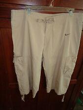 Nike Beige Capri Pants Drawstring Cuff 2 Leg Pockets Hook  Waist NWOT Med 12-14