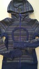 Lululemon sz 2 Poncho Stripe Scuba Hoodie VGUC Wish Blue stretch panels Jacket
