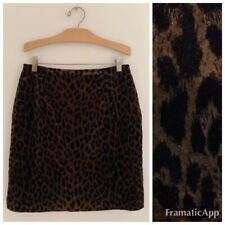 JOSEPH RIBKOFF Women Skirt Sz 8 Leopard Velour Straight Pencil Brown Black