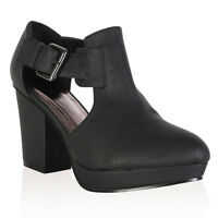 97S WOMENS BLACK PU LADIES CUT OUT BLOCK HEEL CHELSEA ANKLE BOOTS SHOES SIZE 3-8