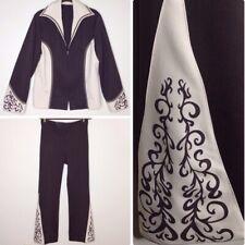 Vintage Western Pant Suit 70s Stage Wear Flared Wide Leg Zip Up Jacket Handmade
