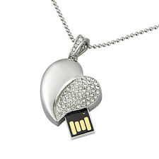 1X 64GB USB Flash Drive Crystal Heart Memory Storage Stick Thumb USB2.0 Silver