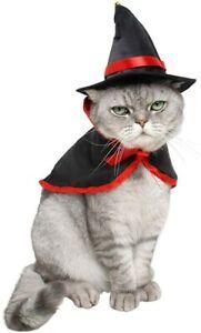 Pet Halloween Costume Set Pet Vampire Cloak Cape and Wizard Hat for Dog Cat