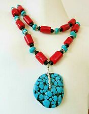 """MASSIVE VINTAGE CHINESE HUGE TURQUOISE RED CORAL ONYX  STERLING NECKLACE 30"""""""