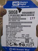 500GB Western Digital WD5000BEVT-11ZAT0   DCM: HBCVJHBB   05 NOV 2008   #177