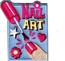 """""""NAIL ART"""" w/POLISH, HEARTS & FLOWER/Iron On Embroidered Applique/Fashion, Girly"""