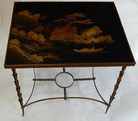 1950/70 Table Plateau Laque de Chine Maison Jansen En Bronze Décor Palmier