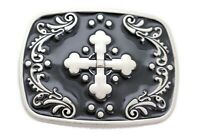 Men Bulky Silver Metal Iron Cross Western Biker Fashion Belt Buckle Punk Rocker