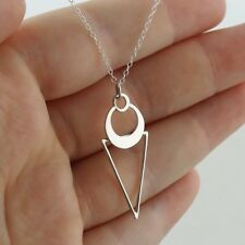 Geometric Triangle w/ Crescent Circle Necklace - Sterling Silver Polished Gift