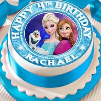 FROZEN ANNA ELSA PERSONALISED BIRTHDAY 7.5 INCH PRECUT EDIBLE CAKE TOPPER A415K