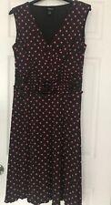 Style & Co Dress Brown pink polka dot A line gathered waist sleeveless Sz XL