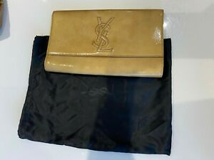 YSL LARGE LEATHER GOLD CLUTCH / PURSE
