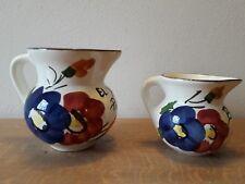 Coppia brocche caraffe ceramica tipo Galvani Pordenone fiori