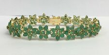 "14k Solid Yellow Gold Flower Bracelet, Natural Emeralds  7.0"". 15.97 Grams"