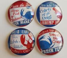 Red Blue Sea Market Crab Shrimp Lobster Glass Magnets Fridge Decor Strong Dome
