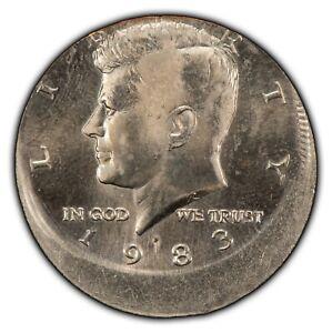1983-P 50c Kennedy Half Dollar - Mint Error Dramatic Off-Center Strike - Y3567