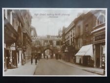 Lincolnshire LINCOLN HIGH STREET / STONEBOW - Old RP Postcard by Woodstone Bros