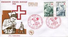 FRANCE FDC - 594 1508-1509 1 CROIX ROUGE - 10 Décembre 1966 - LUXE