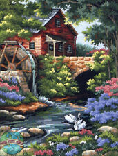 Needlepoint Kit ~ Dimensions Old Water Mill Cottage In Springtime #2484
