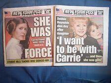 NEWSPAPERS TWO NEW YORK POST CARRIE FISHER DEC 28 DEBBIE REYNOLDS DEC 29