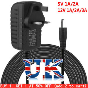 UK Plug 5/12V 1/2/3A AC/DC Power Supply Adapter Charger Mains Transformer NEW
