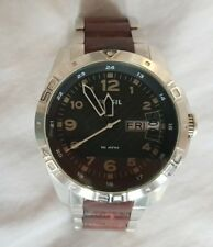 Vintage Fossil AM-4319 Mens Wristwatch Analogue Leather Stainless Steel - Boxed
