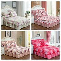 150*200cm Flower Pattern Thickened Quilted Bed Skirt Single Bed Cover Bed Sheet