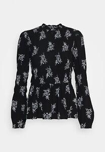 Dorothy Perkins Shirred Body Long Sleeve Floral In Black UK 14