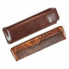 Men's Natural Wooden Comb PU Bag Sandalwood Combs For Barber Cutting Accessories