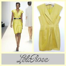 Lela Rose $1,375 mustard yellow couture quality faux-wrap cocktail dress~4