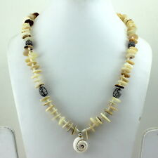 NECKLACE NATURAL WHITE PEARL SHELL GEMSTONE BEADED HANDMADE 49 GRAMS