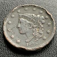 1838 Large Cent Coronet Head One Cent 1c High Grade XF Det. #21752