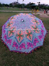 Indian Multi Color Elephant Embroidery Sequence Flower Garden Umbrellas Parasols