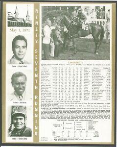 1971 - CANONERO II - Kentucky Derby WC, Race Chart, Jockey, Trainer & Owner