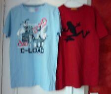 Lot 2 tee-shirls MC bleu et rouge motif taille S ou 15 16 ans
